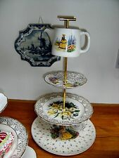 Crinoline Lady 3 Tier Cake Stand Vintage Plates Quirky Mad Hatter Teapot