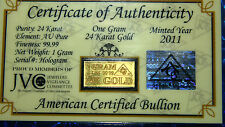 ACB 24k Gold 1 GRAM FINE 99.99 Pure Bullion Bar Certificate of Authenticity $