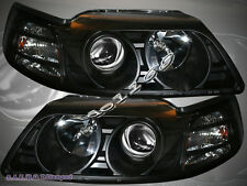 99-04 FORD MUSTANG PROJECTOR BLACK BLK PROJECTOR HEADLIGHTS LAMP ASSEMBLY AMBER
