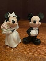 Mickey and Minnie Mouse Ceramic Bride and Groom Salt and Pepper Shakers/ Disney
