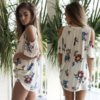 Womens Lady V Neck Short Sleeve Floral T-Shirt Ladies Beach Tops Loose Blouse