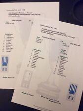 1962-63 Cup Winners Cup Tottenham Hotspur v OFK Belgrade both legs Matchsheets