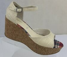 Rockport adiPRENE by Adidas Natural Cork Wedges with Ankle Strap 9 M Peep Toe