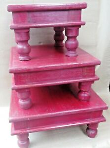 Reclaimewood Foot table Ceromonial table low sitting dianning BAJOT Set 3pc RED