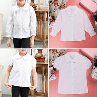 Girl Kids School Uniforms Long/Short Sleeve Dress Shirt Frilly Blouse Tops 4-13Y