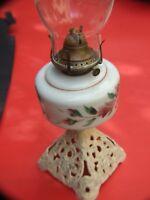 ANTIQUE VICTORIAN OIL /KEROSENE LAMP MILK GLASS  PAINTED  BOWL  1890'S