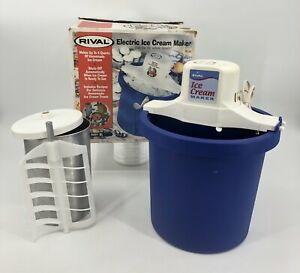 Rival Electric Ice Cream Yoghurt Maker 4 Quart Blue 8401 Vintage Made In USA