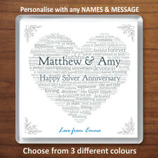 Personalised Silver 25th Wedding Anniversary Gift Drinks Coaster Word Art Heart