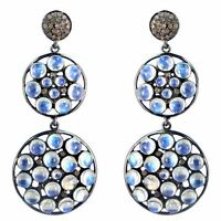 Moonstone Pave Diamond Dangle Earrings Vintage Style 925 Sterling Silver Jewelry