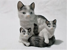 Vintage Homco Ceramic Kitty Cat & Kittens Figurine Black Gray & White