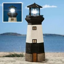Solar Powered Functional White & Black Seaside Lighthouse Outdoor Garden Statue