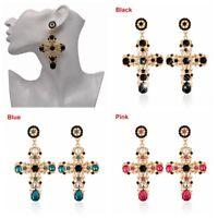 Women Luxury Vintage Long Dangle Baroque Style Crystal Gold Cross Large Earrings