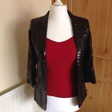 WOMENS NWT VINTAGE BOUTIQUE BLACK SEQUIN JACKET - Size UK10/EU38