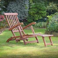 Reclining Steamer Chair Hardwood Acacia Wooden Recliner Sunlounger Plant Theatre