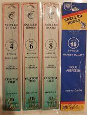 24 Assorted Gold Aberdeen Snelled Hooks