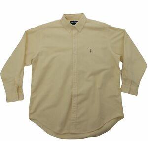 Ralph Lauren YARMOUTH Cotton Yellow L/S Button Down Oxford Dress Shirt 16 1/2 34