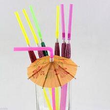 20Pcs Colourful Hawaiian Luau Parasol Umbrella Straws Wedding Drinks Decoration