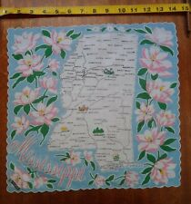 Ranshaw Map of Mississippi Vintage Handkerchief - Scalloped Edge w/ Tag