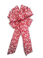 "Large 9-10"" Red & White Hearts Wreath Bow Love Valentine Wedding Anniversary"