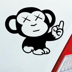 Auto Aufkleber in deiner Wunschfarbe Affe Mittelfinger Fun Tier Motorrad Monkey
