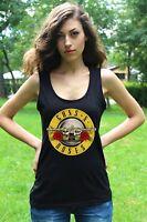 GUNS N ROSES LOGO Lady tank top vest black T-shirt Rock shirt Rock Band tee
