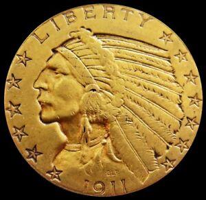 1911 GOLD US $5 DOLLAR INDIAN HEAD HALF EAGLE COIN