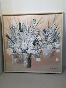 Stephen Kaye Original Acrylic On Canvas Painting 3D Floral Signed Textured Art