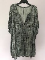 Womam Within Women Plus Size  22/24 1x Blouse Black White Tunic Top Blouse New