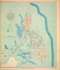 PHILIPPINE ISLANDS - OCEAN DEPTHS  1899 Original Antique Map