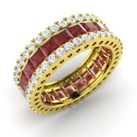5.56Ct Princess/Round Cut Natural Garnet Eternity Band 14K Solid Yellow Gold
