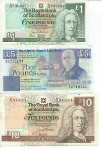 SCOTLAND - 3x BANK NOTES - All are circulated