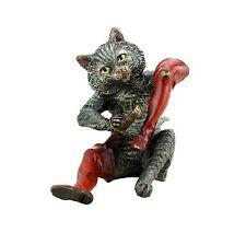 Wiener bronce gato-gestiefelter gato-pintados cuentos de hadas en miniatura de bronce