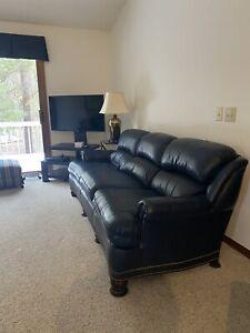 HANCOCK & MOORE Blue Top Grain Leather Sofa & Love Seat with Tack Head Trim.