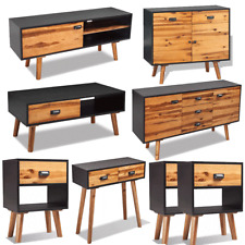 Solid Acacia Wood Bedside Cabinet Sideboard Coffee Console Table Black&Brown UK❤