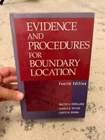 EVIDENCE AND PROCEDURES FOR BOUNDARY LOCATION By Donald A. Wilson - Hardcover C2