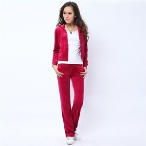Juicy Couture Red Velour Tracksuit Set Gold Crest Hoodie & Bootcut - Medium