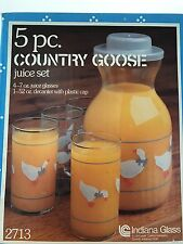 Vintage 4 Pc. Indiana Glass Juice Set Country Goose #2713