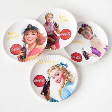 New listing Coca Cola Sexy Girls Retro 4 piece Melamine Plates Picnic Party Fun New