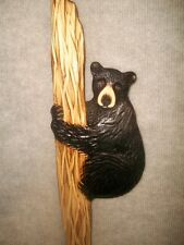 Hand Carved BLACK BEAR CUB in a TREE Wall Art Chainsaw Wood Carving Cabin Decor