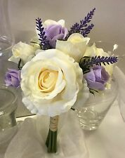 silk wedding bouquet dusty lavender cream roses flowers bouquets rustic flower