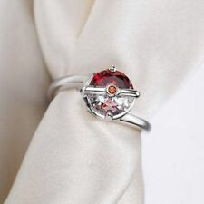 Pokemon Pokeball Red Garnet In Solid 925 Sterling Silver Women Engagement Ring