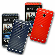 HTC ONE M7 3D Coloured CARBON Fibre Skin Wrap Sticker Cover Protector Decal