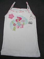 BNWT Girls Sz 2 Quality Disney Ariel Mermaid 100% Cotton White Singlet/Tank Top
