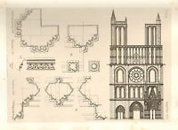 1858 LARGE ARCHITECTURE PRINT ~ MANTES CATHEDRAL MEDIEVAL GOTHIC ART MEDIAEVAL
