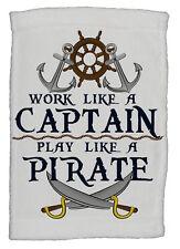Work Like A Captain, Play Like A Pirate Super Soft 8 x 12 Inch Hand Towel