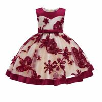 Princess flower tutu party dress bridesmaid dresses kid baby wedding formal girl