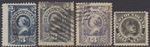 Canada Newfoundland 1890 3c & 1894 1/2c Definitive Used & MNG Stamps SG55/56/59