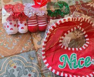 Lot of 2 - Bearington Baby Collection - Christmas / Holiday Socks & Bib - New