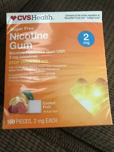 CVS Health Sugar Free Nicotine Gum 2mg Coated Fruit 160 Pieces EXP 5/22