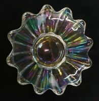 """Dish Iridescent Carnival Glass Candy Scalloped Celestial Pattern Clear 5"""" VTG"""